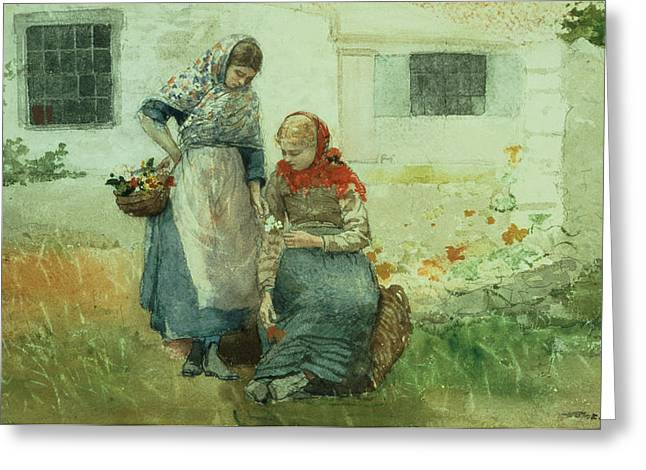 Picking Greeting Cards - Picking Flowers Greeting Card by Winslow Homer
