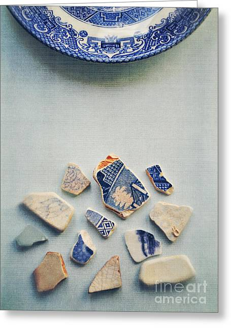 China Beach Greeting Cards - Picking up the broken pieces Greeting Card by Lyn Randle