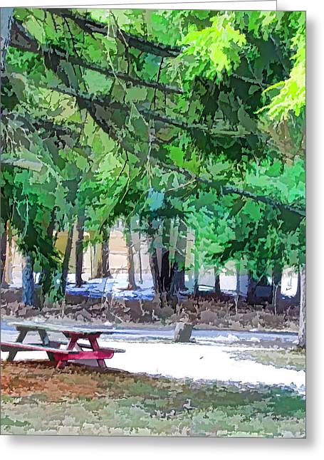 Picnic Area With Wooden Tables 1 Greeting Card by Lanjee Chee