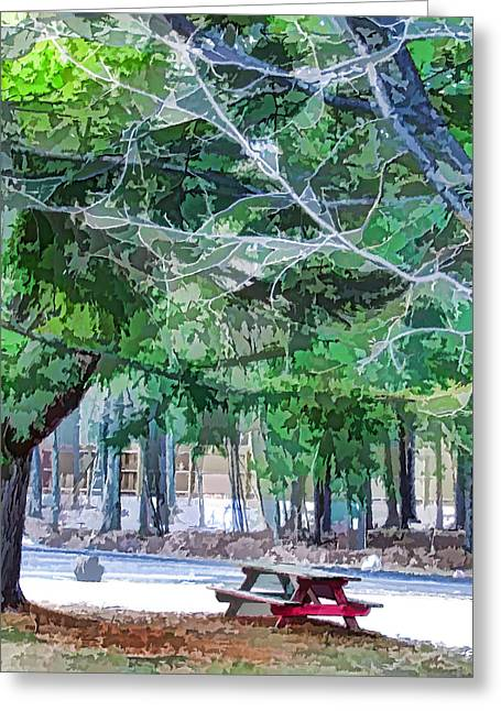 Picnic Area With Wooden Tables 2 Greeting Card by Lanjee Chee