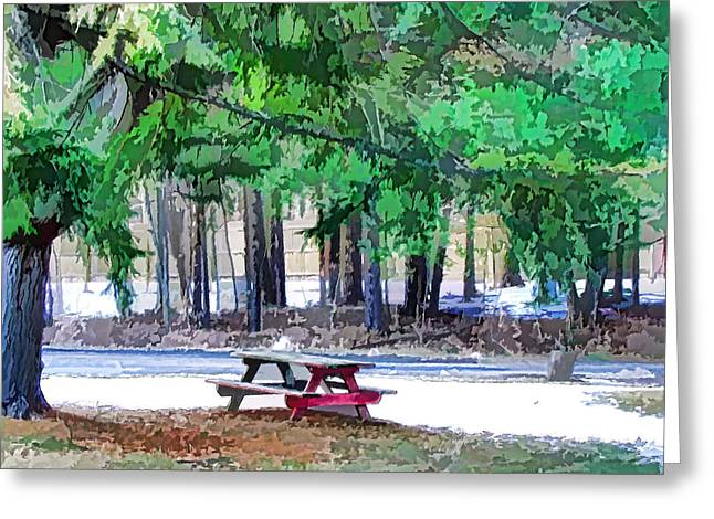 Picnic Area With Wooden Tables 3 Greeting Card by Lanjee Chee