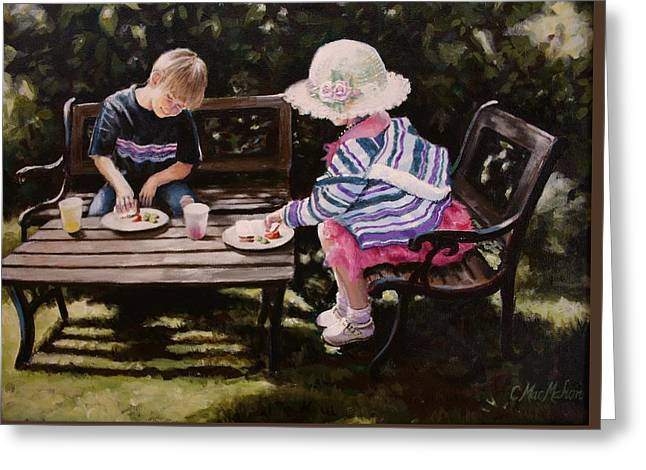 Kinkade Greeting Cards - Picnic Hat Greeting Card by Carolyn MacMahon