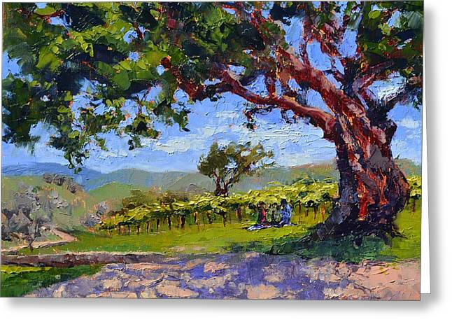 Picnic In The Vineyard Greeting Card by Lynee Sapere