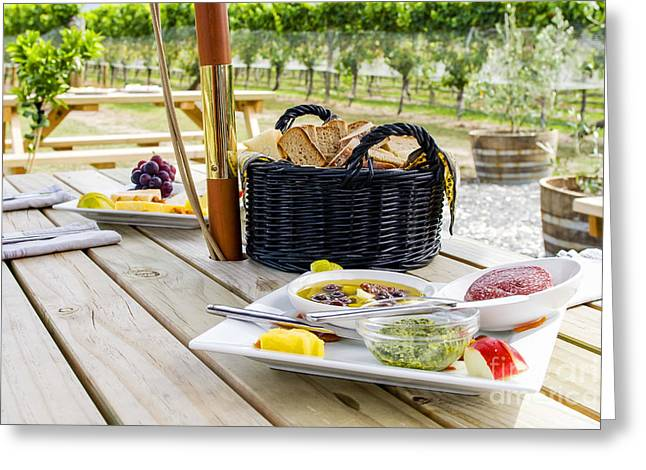 Wine Scene Photographs Greeting Cards - Picnic in vineyard Greeting Card by Patricia Hofmeester