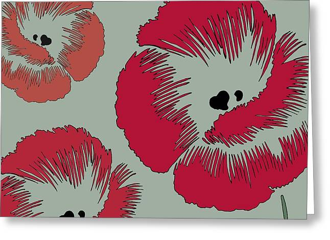 Grey Background Greeting Cards - Picnic Poppy Greeting Card by Sarah Hough