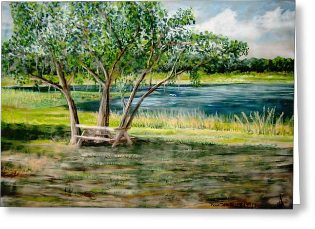 Picnic Pastels Greeting Cards - Picnic Table In The Shade Greeting Card by Larry Whitler