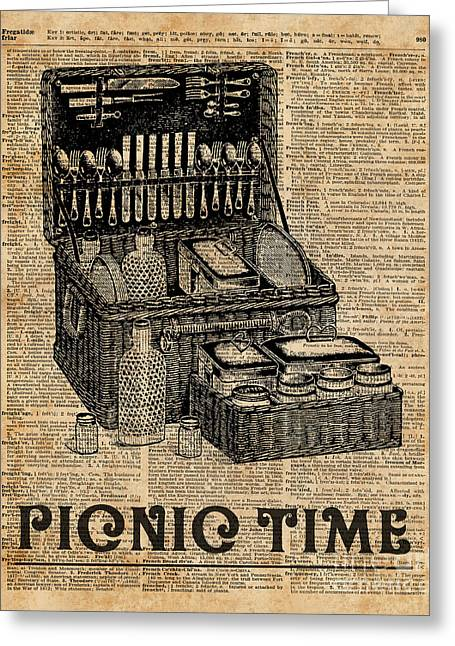 Picnic Time Vintage Illustration Dictionary Book Page Art Greeting Card by Jacob Kuch