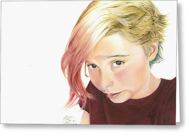 Self Portrait Pastels Greeting Cards - Picture Me This Greeting Card by Tess Lee miller