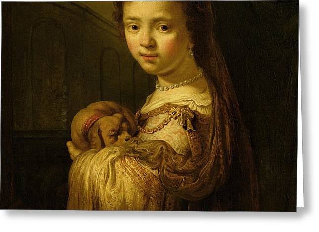Picture of a Young Girl Greeting Card by Govaert Flinck