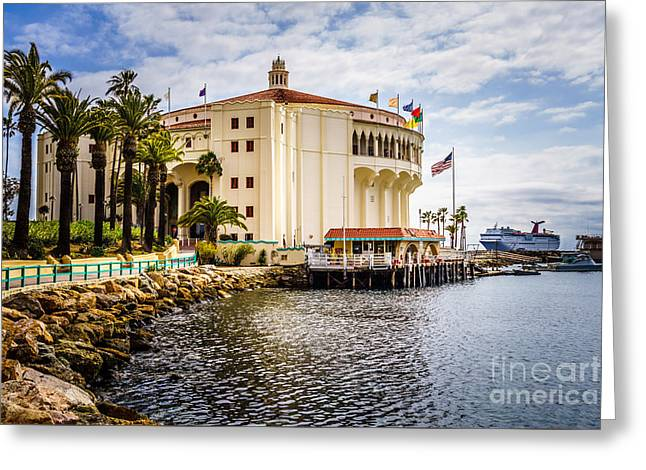 Historical Pictures Greeting Cards - Picture of Avalon Casino on Catalina Island  Greeting Card by Paul Velgos