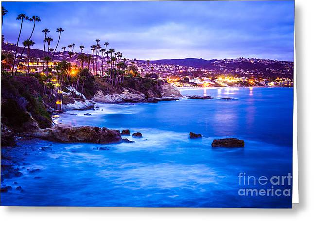 Outside Pictures Greeting Cards - Picture of Laguna Beach California City at Night Greeting Card by Paul Velgos