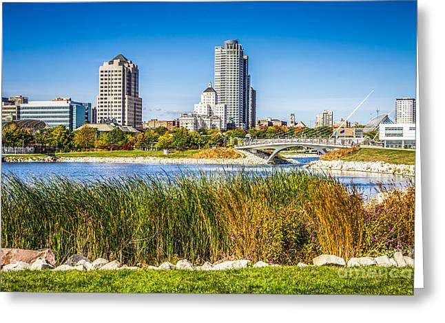 Wisconsin State Parks Greeting Cards - Picture of Milwaukee Skyline and Lakeshore State Park Greeting Card by Paul Velgos