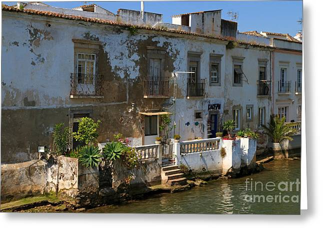 Tavira Greeting Cards - Picturesque waterfront house on the River Gilao in Tavira Greeting Card by Louise Heusinkveld