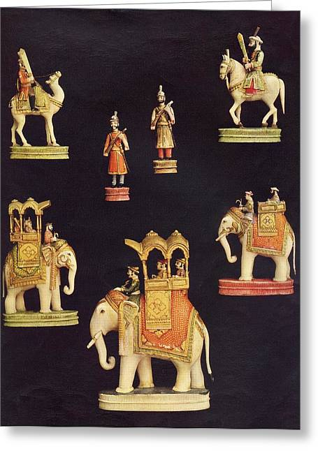 Chessmen Greeting Cards - Pieces From A Chess Set In Carved And Greeting Card by Ken Welsh