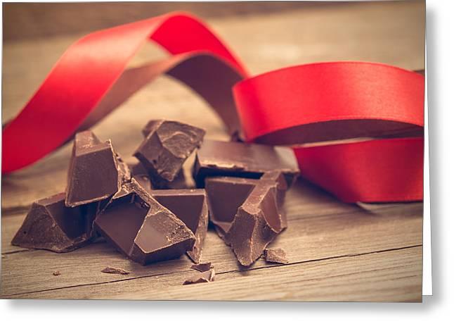 Pieces Of Chocolate Bar Greeting Card by Nadezhda Tikhaia