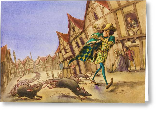 Pie Greeting Cards - Pied Piper rats Greeting Card by Andy Catling