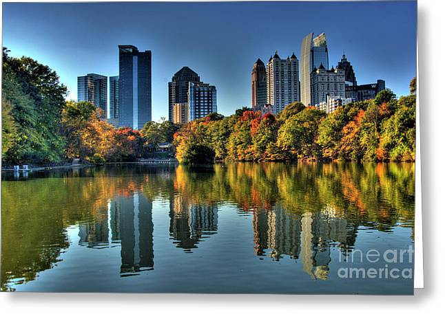 Clayton Greeting Cards - Piedmont Park Atlanta City View Greeting Card by Corky Willis Atlanta Photography