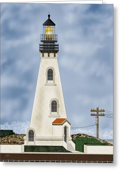 Piedras Blancas Lighthouse Greeting Cards - Piedras Blancas Lighthouse in California Greeting Card by Anne Norskog