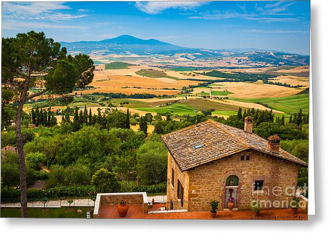 Pienza Landscape Greeting Card by Inge Johnsson