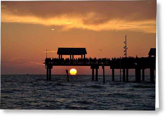 Pier Digital Greeting Cards - Pier 60 Clearwater Beach - Watching the Sunset Greeting Card by Bill Cannon