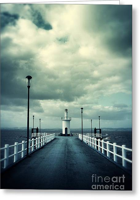 Pier And Lighthouse Greeting Card by Carlos Caetano