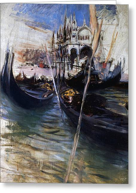 Pier And San Marco In Venice Greeting Card by Giovanni Boldini