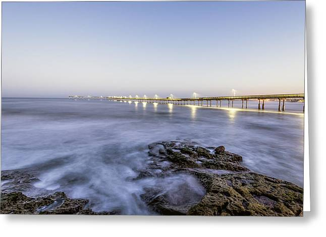 California Ocean Photography Greeting Cards - Pier at Dawn Greeting Card by Joseph S Giacalone