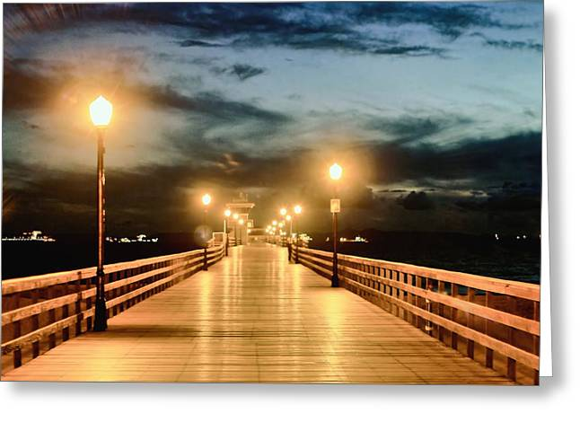 Beach At Night Greeting Cards - Pier at night Greeting Card by James Hundley