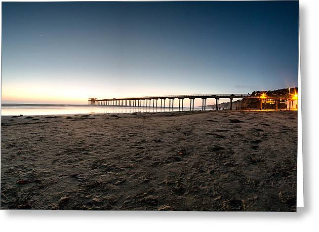Beach At Night Greeting Cards - Pier at Night Greeting Card by Manuela Durson