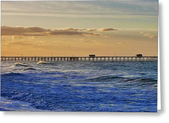 Clemente Greeting Cards - Pier at Sunrise Greeting Card by Richard Cheski