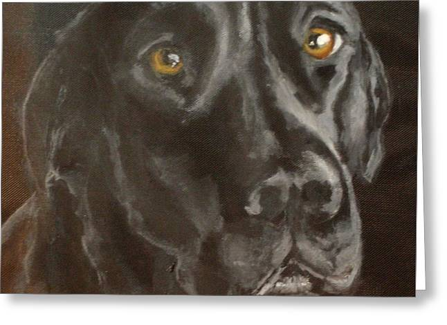 Dog Close-up Paintings Greeting Cards - Pier Greeting Card by Carol Russell