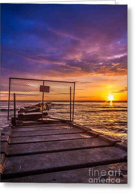 Shorewood Greeting Cards - Pier Closed Greeting Card by Andrew Slater