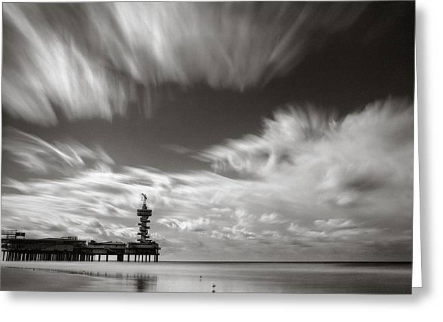 Pier End Greeting Card by Dave Bowman