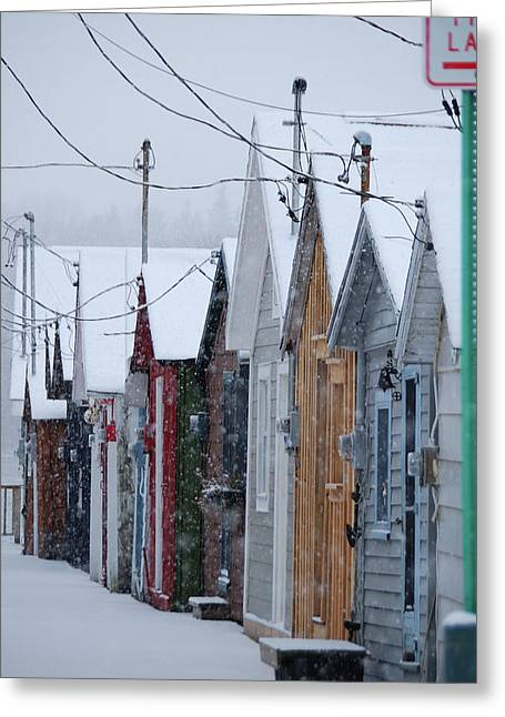 Canandaigua Greeting Cards - Pier Houses in January 2010 Greeting Card by Joseph Duba