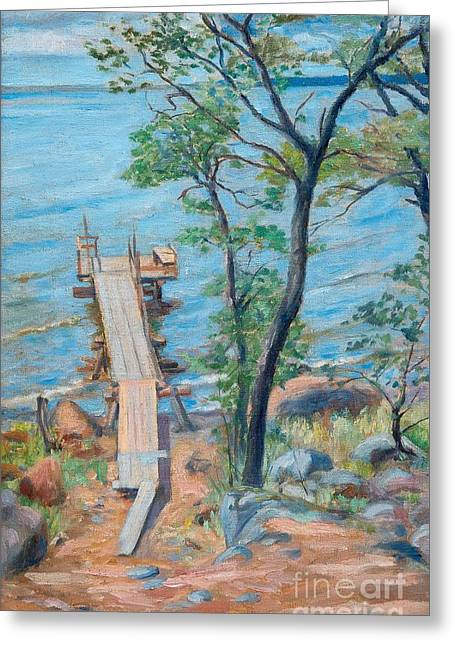 Summer Landscape Drawings Greeting Cards - Pier In Summer Landscape Greeting Card by Hugo Simberg