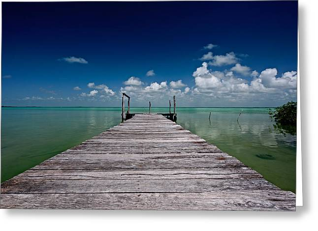 Boca Paila Greeting Cards - Pier in to the blue Greeting Card by Riccardo Mantero