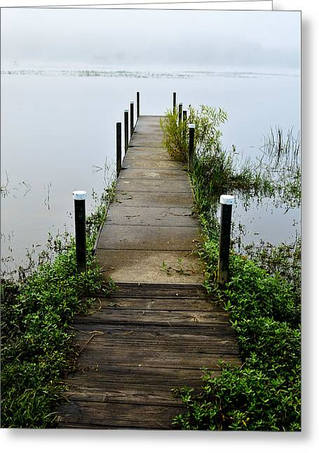 Fort Rucker Greeting Cards - Pier Into The Fog Greeting Card by David Crockett