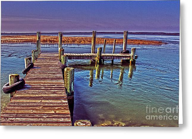 Wooden Platform Greeting Cards - Pier Near Wallops Island Greeting Card by Tom Gari Gallery-Three-Photography