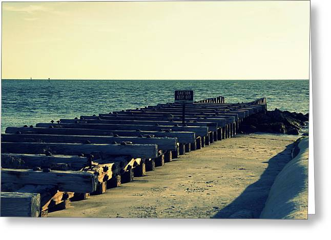 Sea Platform Greeting Cards - Pier of the Past Greeting Card by Laurie Perry