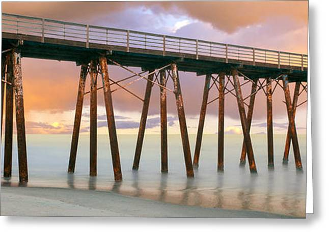 Baja California Greeting Cards - Pier On Beach During Sunrise, Playas De Greeting Card by Panoramic Images
