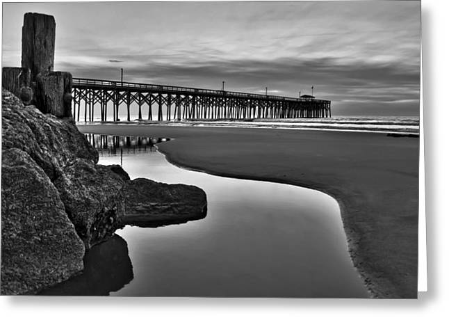 Tidal Photographs Greeting Cards - Pier Reflections Greeting Card by Ginny Horton
