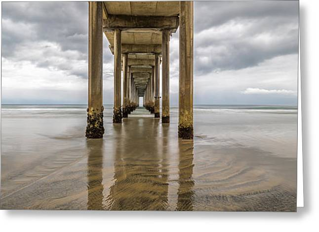 Ocean Panorama Greeting Cards - Pier Review Greeting Card by Dustin  LeFevre