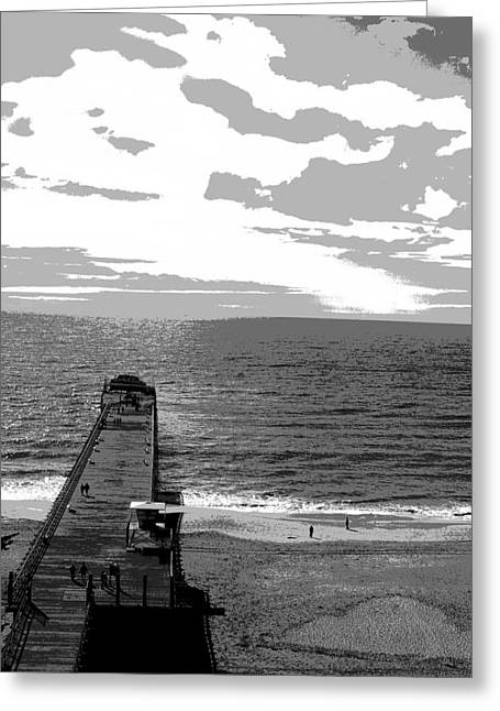 Santa Cruz Digital Greeting Cards - Pier with Ocean Greeting Card by James Harper
