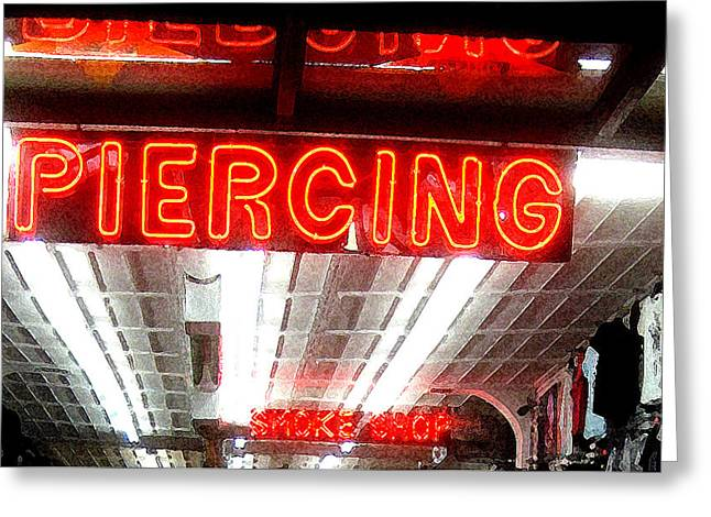Counterculture Greeting Cards - Piercing Greeting Card by Ronnie Caplan