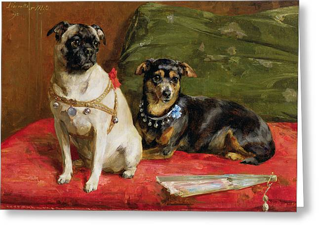 Dog Greeting Cards - Pierette and Mifs Greeting Card by Charles van den Eycken