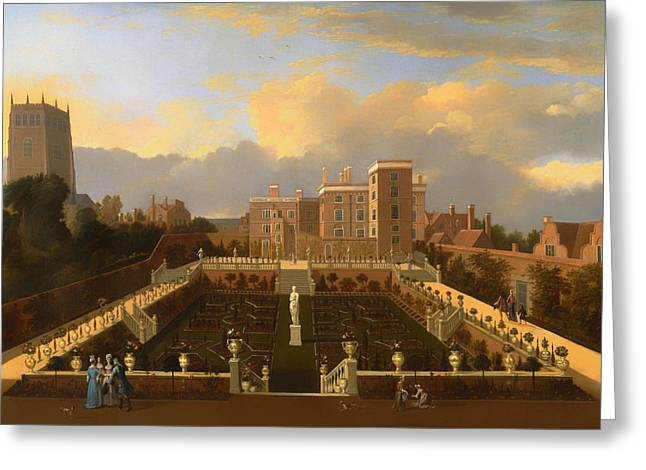Historic Statue Paintings Greeting Cards - Pierrepont House - Nottingham - Nottinghamshire Greeting Card by Unknown