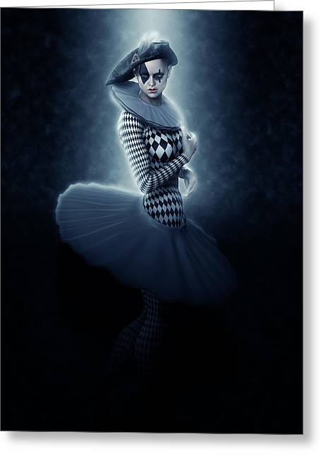 Pierrette Young Girl Lit In Blue Greeting Card by Joaquin Abella