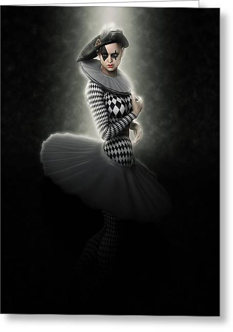 Pierrette Young Girl Lit Greeting Card by Joaquin Abella
