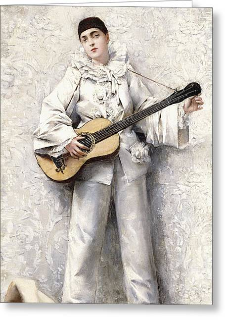 Ruff Collar Greeting Cards - Pierrot Greeting Card by Leon Francois Comerre