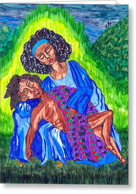 Calvary Greeting Cards - Pieta-2 Greeting Card by Stacey Torres